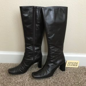 Dark Brown Leather Knee High Boots